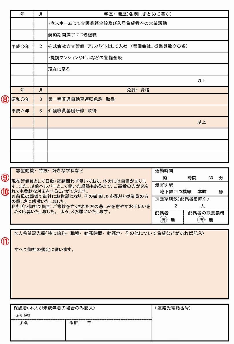 の 履歴 書き方 パート 書